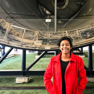 Arushi with Saturn V credit Arushi